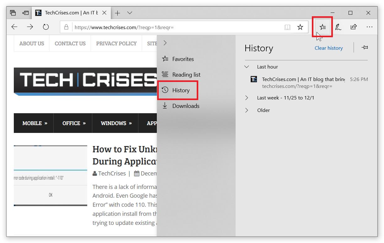 Delete History in Microsoft Edge