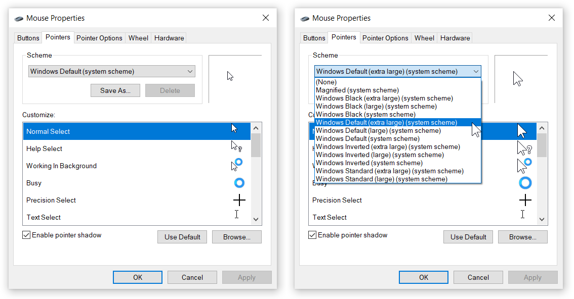 Change Mouse Cursor Size in Windows 10