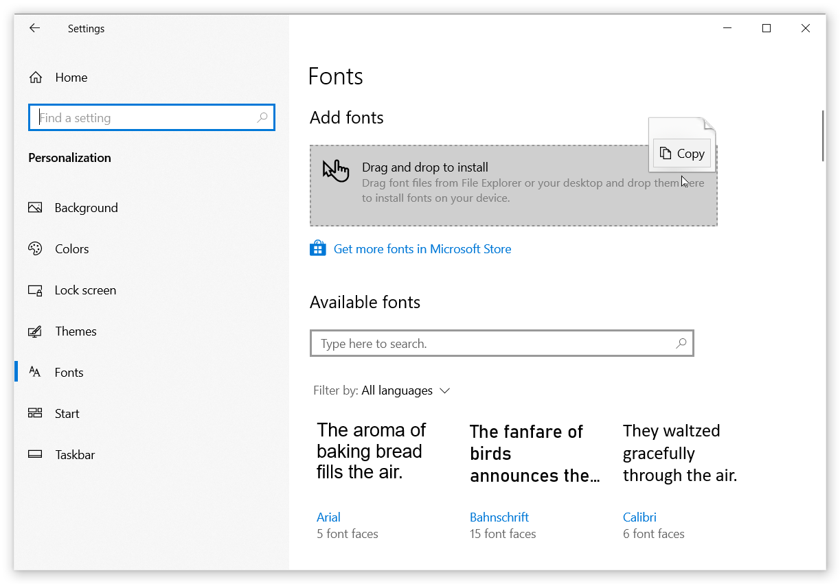 windows 10 fonts folder