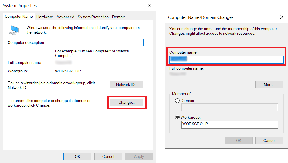change computer name windows 10
