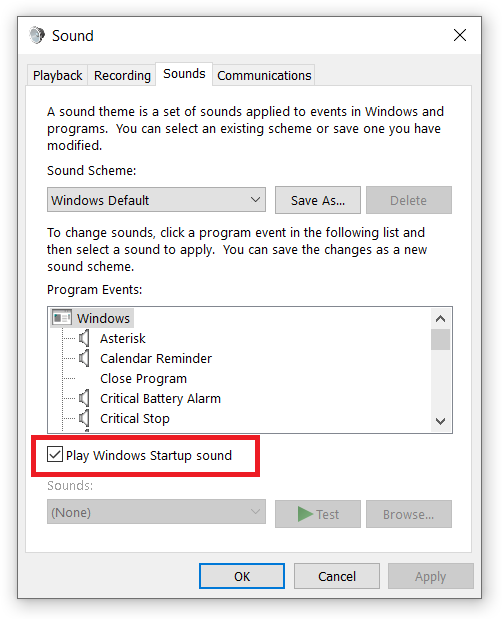 how to change windows 10 startup sound