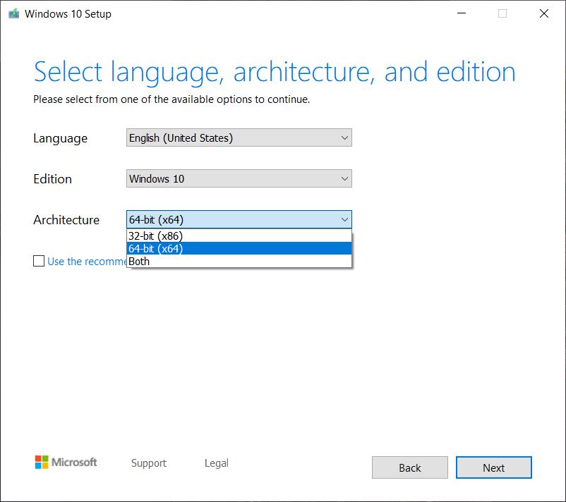 windows 10 32 bit to 64 bit