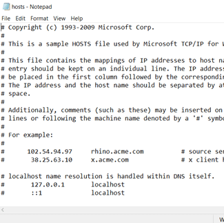 Edit hosts file windows