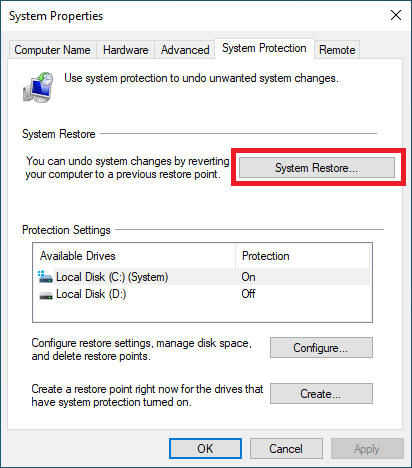 windows 10 restore point location