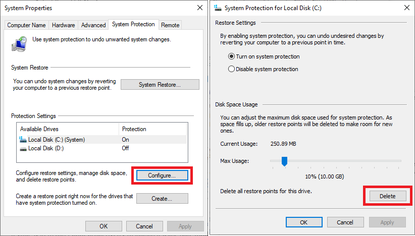 windows 10 backup restore point