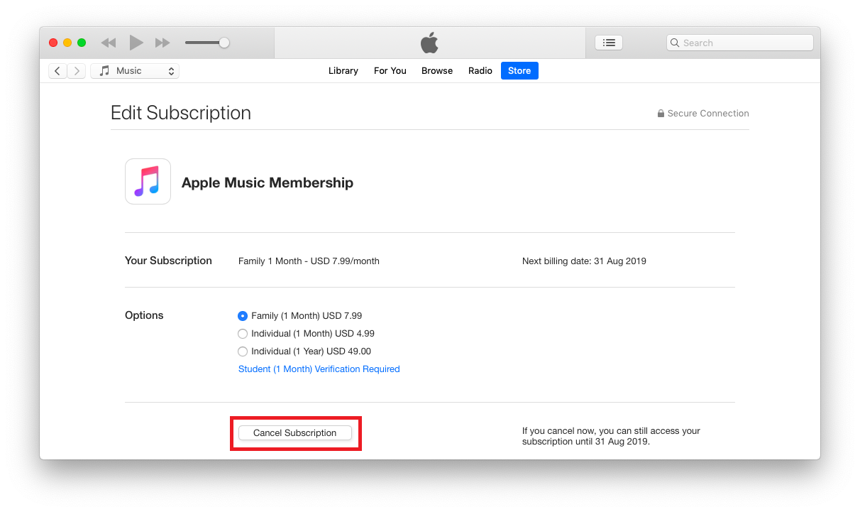 how to cancel itunes music