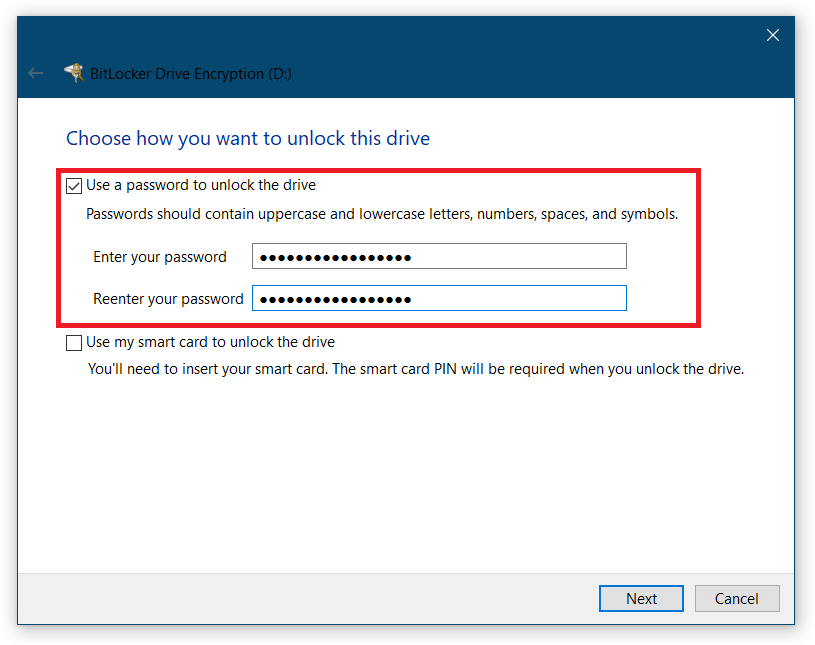 Password Protect USB Drive bitlocker