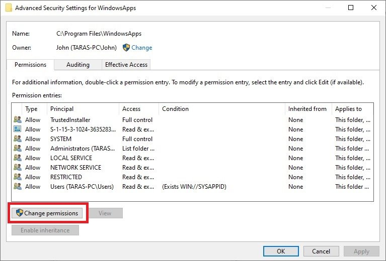 delete windowsapps folder windows 10
