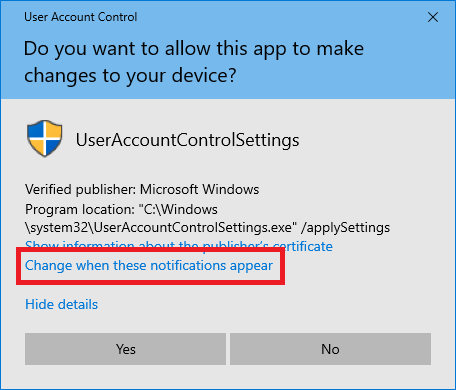 turn off user account control windows 10