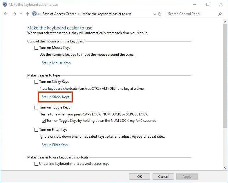 how to stop sticky keys windows 10