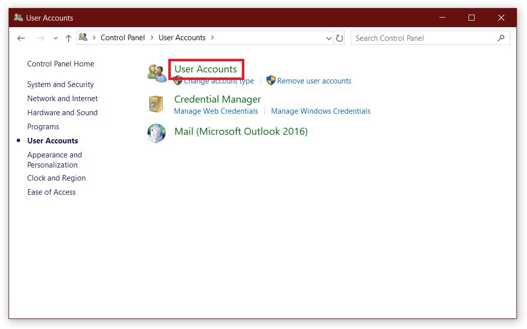 disable user access control windows 10
