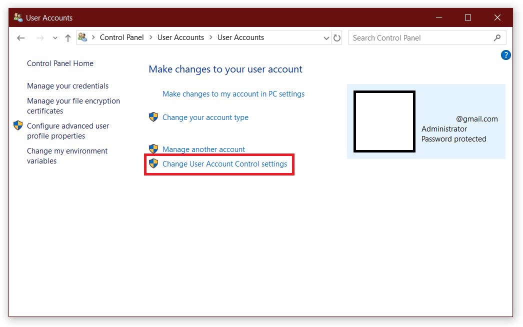 user account control windows 10 disable
