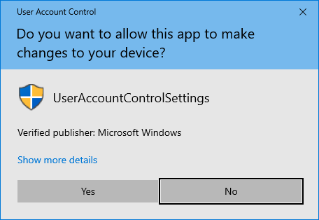 disable user account control windows 10