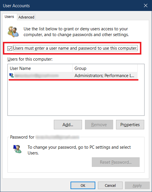 how to remove login password on windows 10
