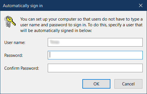 turn off login password windows 10
