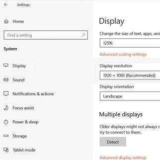 change screen resolution in Windows 10
