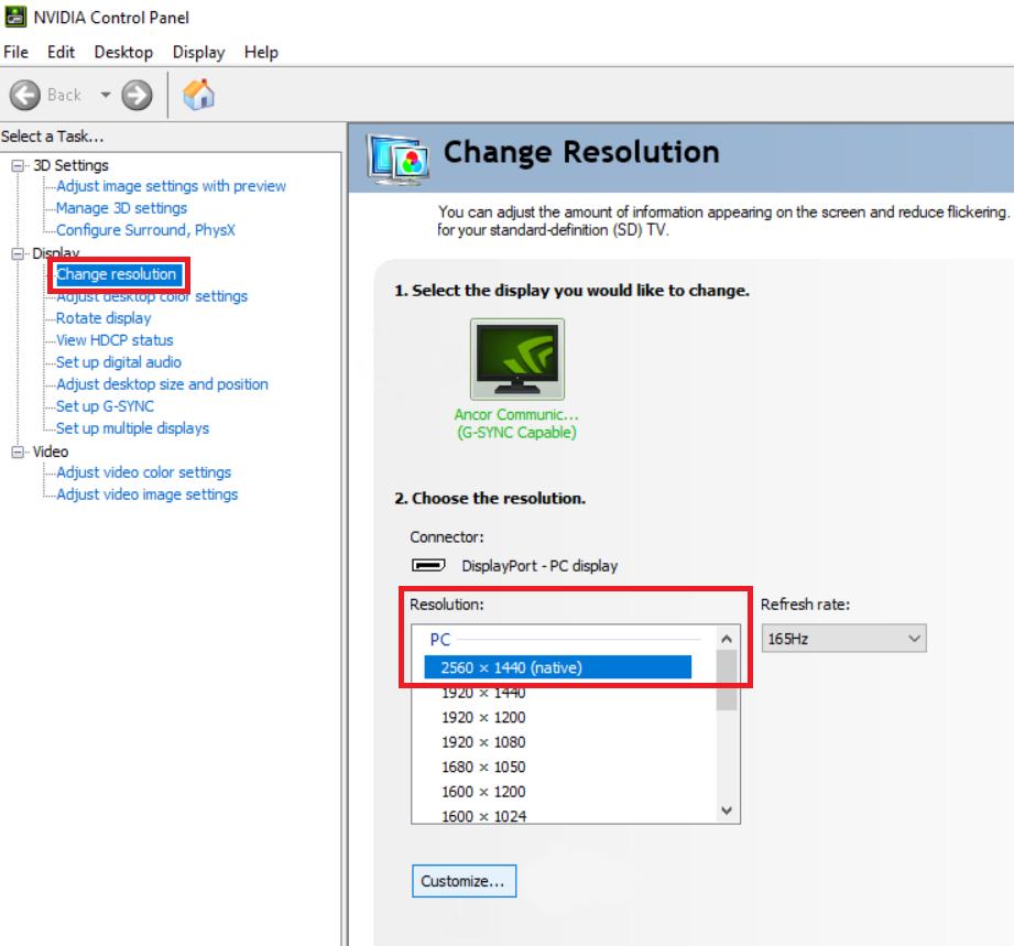 resize screen windows 10