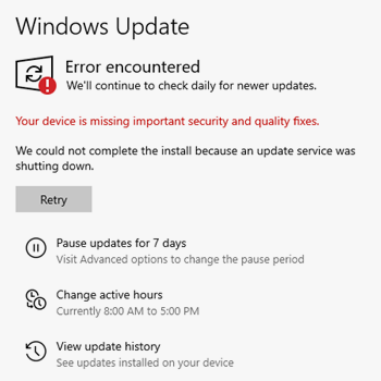 your device is missing important security and quality fixes error