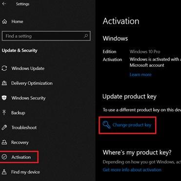 change product key Windows 10