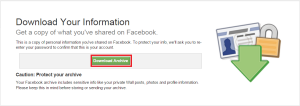 backup facebook profile data