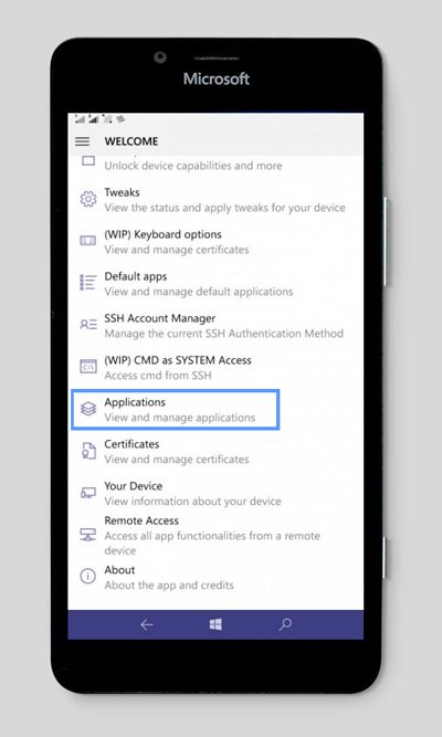 windows phone manage applications