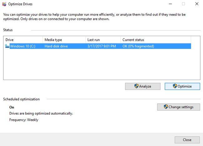 optimize disks defragmentation