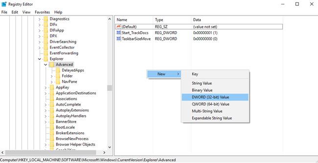 taskbar transparent registry dword