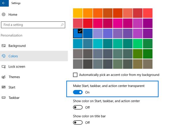 taskbar transparent windows 10