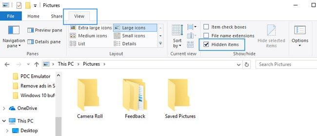hidden items file explorer