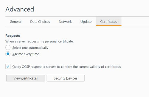 mozilla view certificates