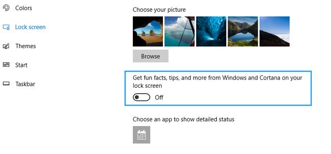 settings lock screen