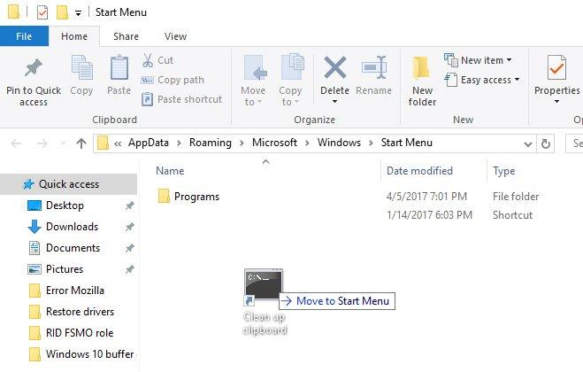 start menu clear clipboard shortcut