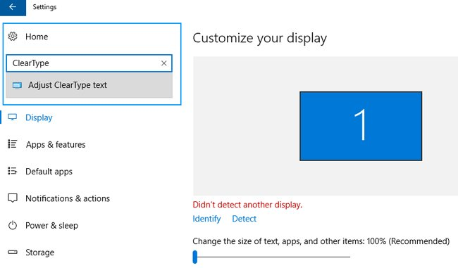 clear type adjust text windows 10