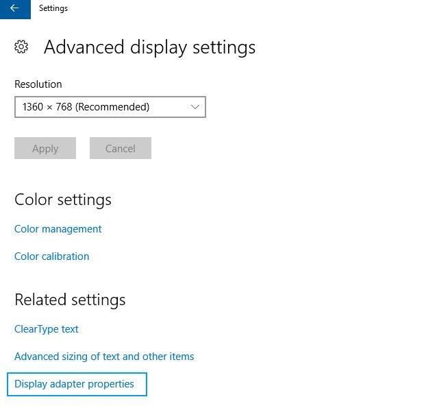 display adapter settings