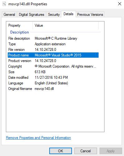msvcp140.dll properties