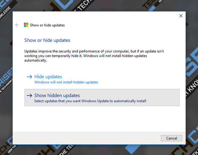 show hidden updates windows 10