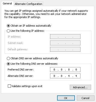 DNS no internet access