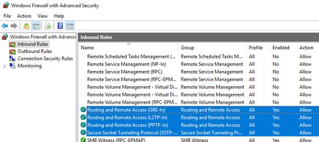 RAS VPN inbound roles
