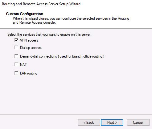 VPN access custom configuration
