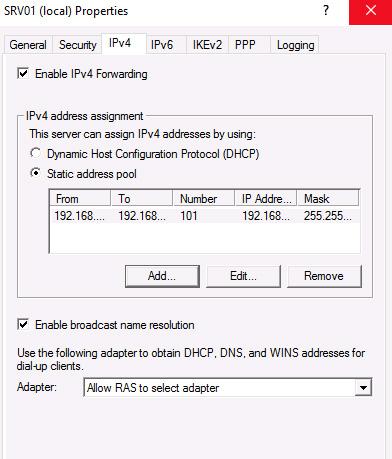 VPN server properties