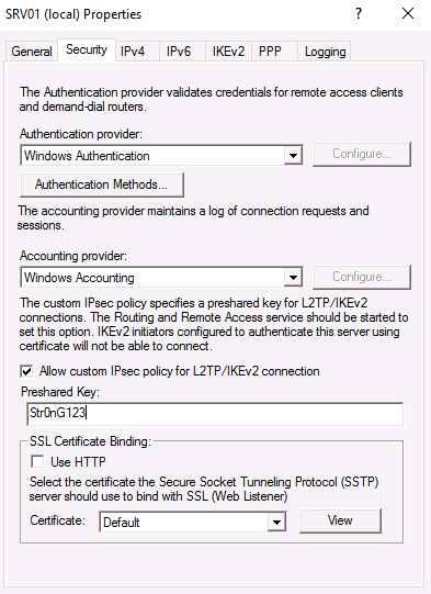 VPN server properties security