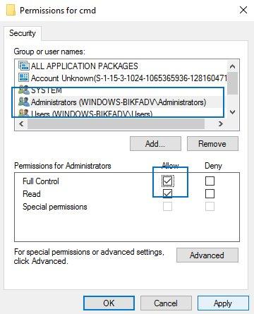 cmd administrator full control