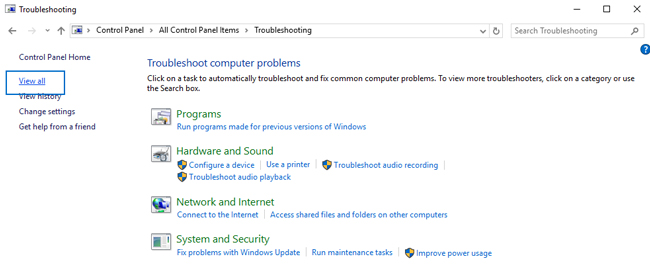 control panel troubleshooting windows 10