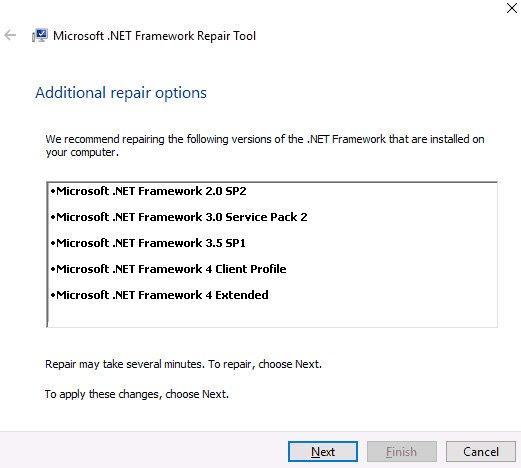 net framework error repair tool