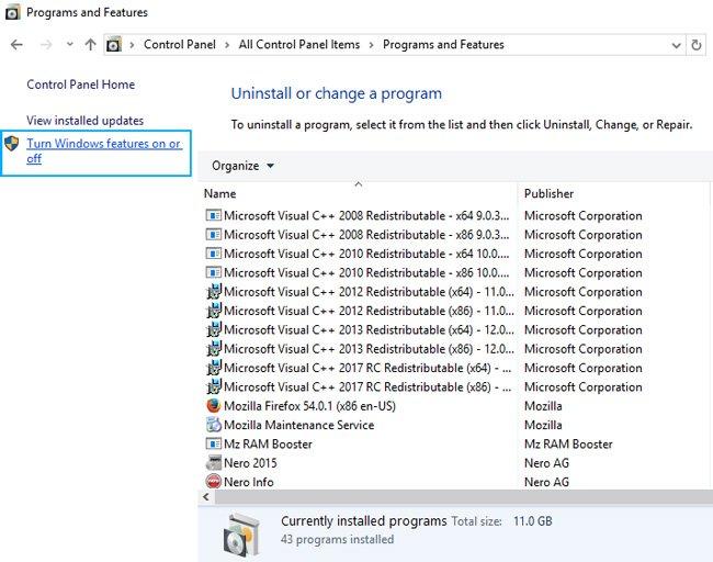 net framework error windows 10 features