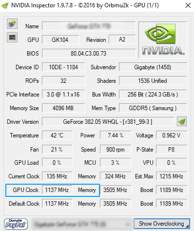 display driver not working GPU Clock