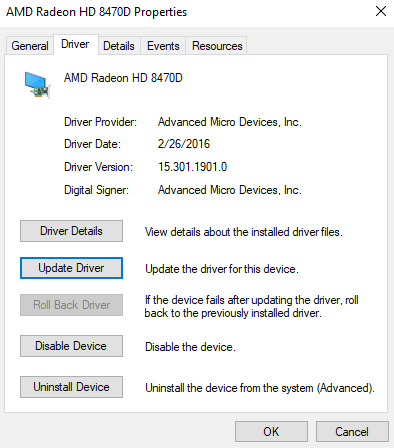 display driver not working update