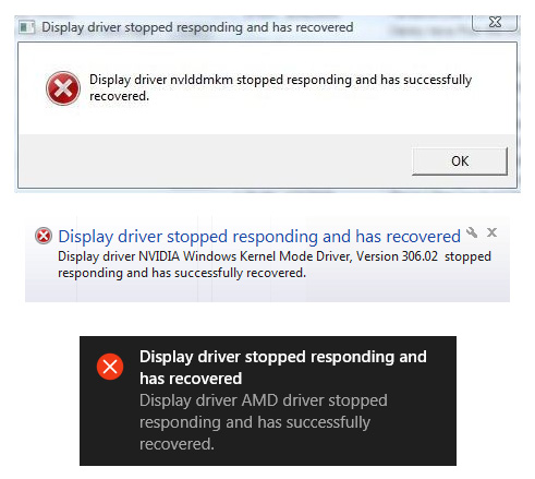 display driver stopped responding and has recovered error